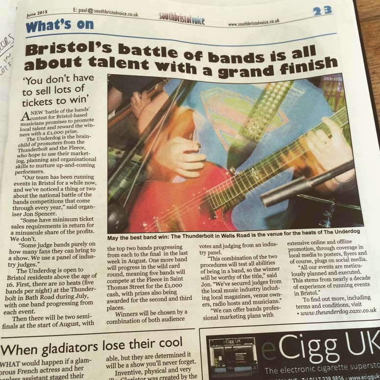 FIRST PRESS COVERAGE FOR THE UNDERDOG.